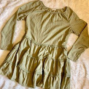 """indigo soul"" green tiered tunic"